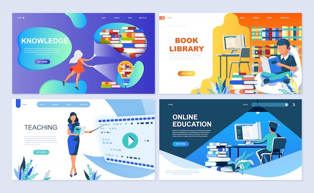 Set of landing page template for education Premium Vector