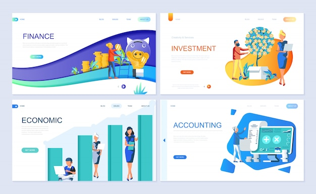 Set of landing page template for finance Premium Vector