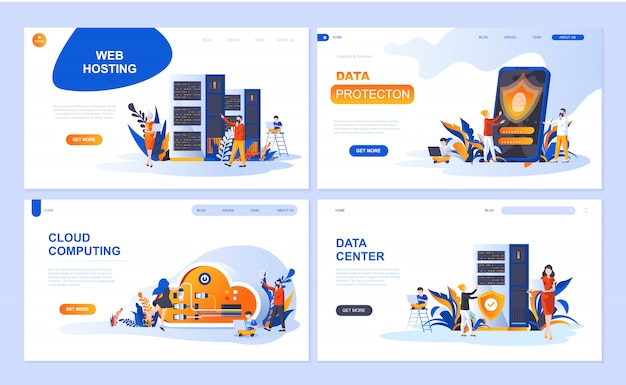 Set of landing page template for hosting, data protection, data center, cloud computing Premium Vector
