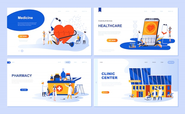 Set of landing page template for medicine, healthcare, pharmacy, clinic center Premium Vector