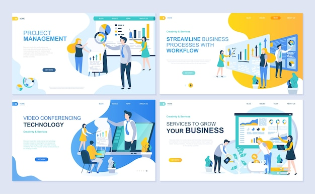 Set of landing page template for project management, business, workflow and consulting. Premium Vector