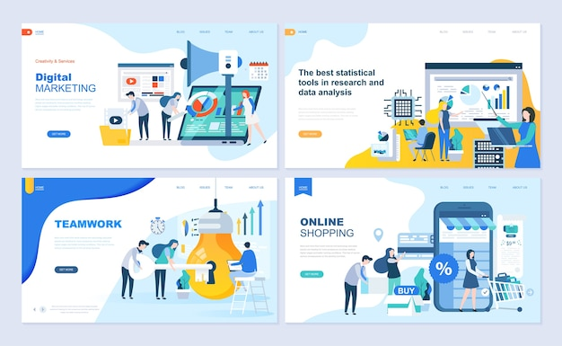 Set of landing page template for shopping, marketing, teamwork, business strategy. Premium Vector