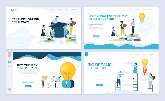 Set of landing page template for staff education, consulting, college, education app. Premium Vector