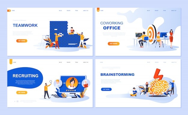 Set of landing page template for teamwork, recruiting, brainstorming, coworking office Premium Vector