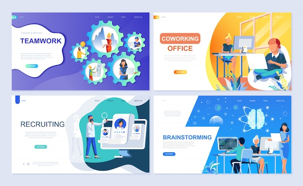 Set of landing page template for teamwork Premium Vector