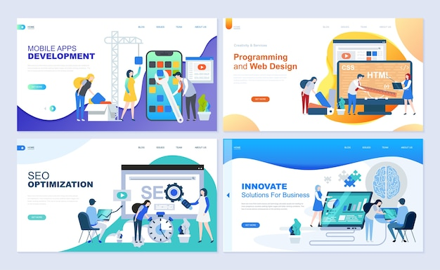 Set of landing page template for web development, seo, mobile apps, business solutions. Premium Vector