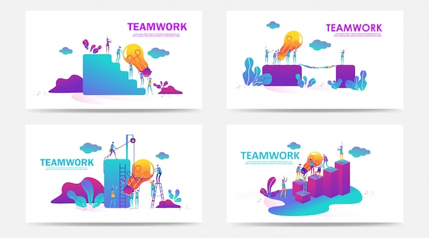 Set of landing page and web page with teamwork concept. vector creative illustration of business graphics people,search for new ideas. use for seo, web design, ui development, business app. - vector Premium Vector