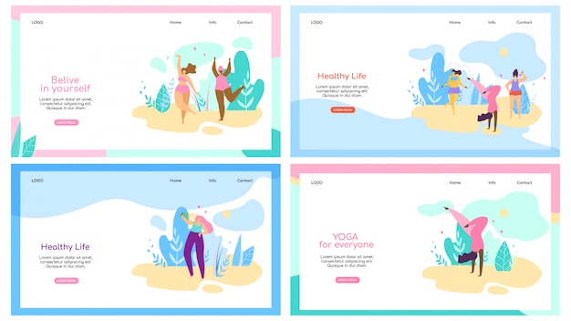 Set of landing page web template with attractive overweight women healthy lifestyle Premium Vector