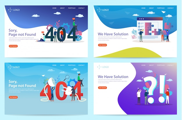 Set of landing page with the lost connection theme, illustration Premium Vector