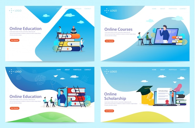 Set of landing page with the theme of education, illustration Premium Vector