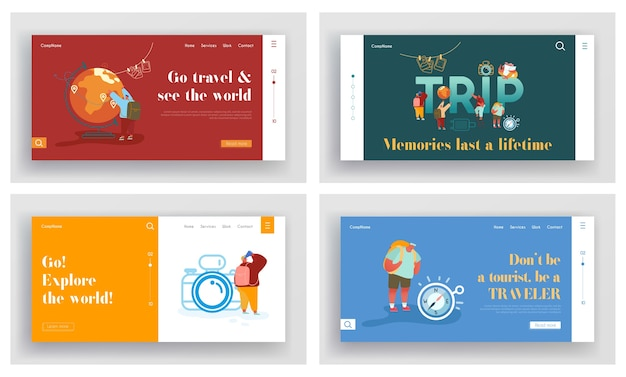 Set of landing pages of tourists adventure, travelling around the world. Premium Vector