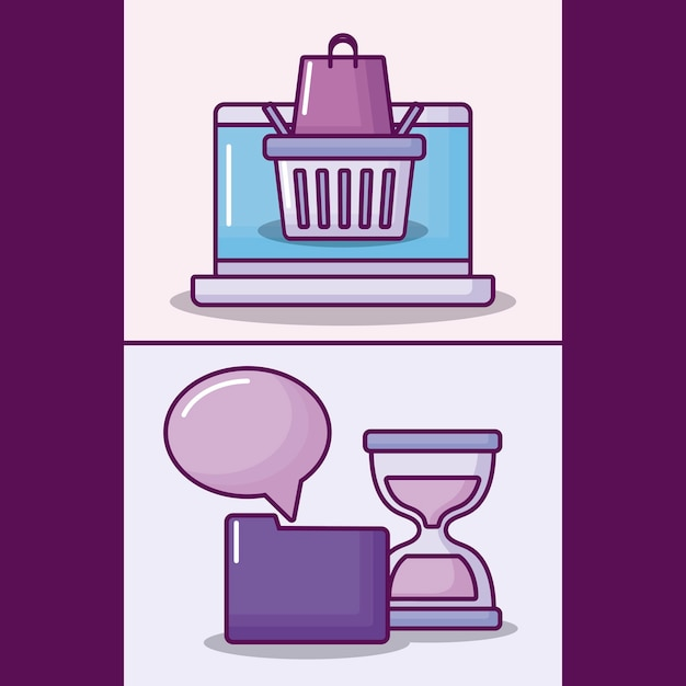 Set laptop computer with electronic business icons Free Vector
