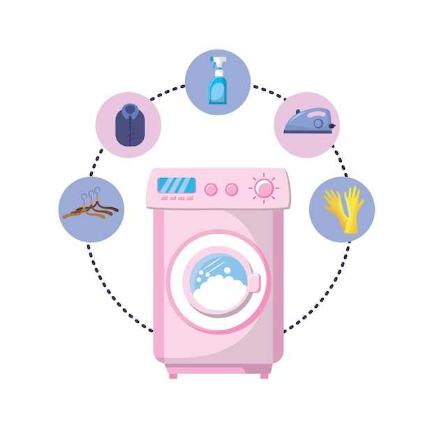 Set laundry equipment to washing the clothes Premium Vector