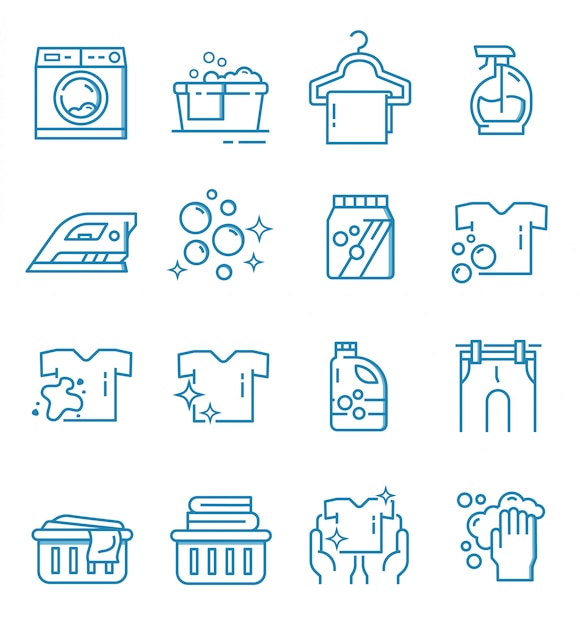 Set of laundry icons with outline style Premium Vector