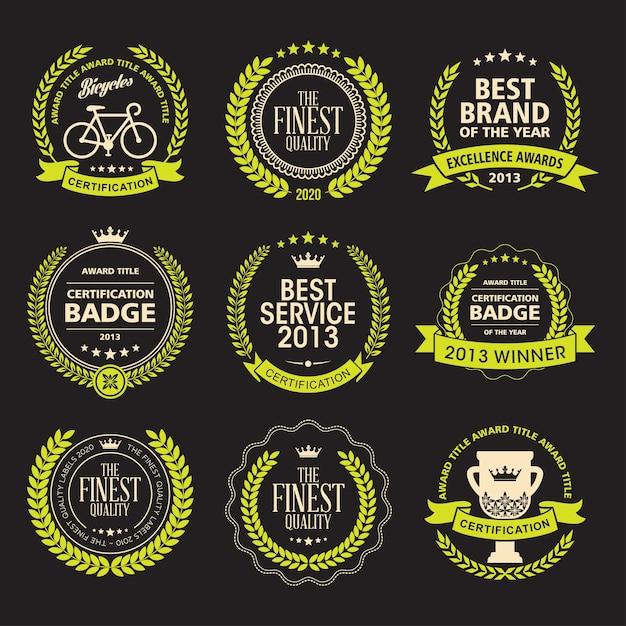 Set of laurel wreath awards badges Premium Vector
