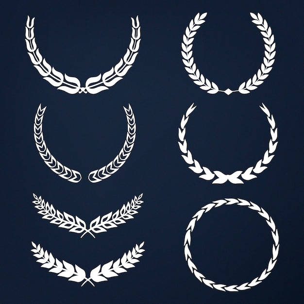 Set of laurel wreath illustration vectors Free Vector