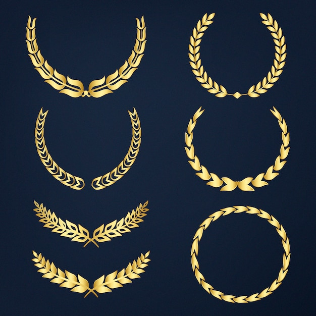 Set of laurel wreath illustration vectors Free Vector