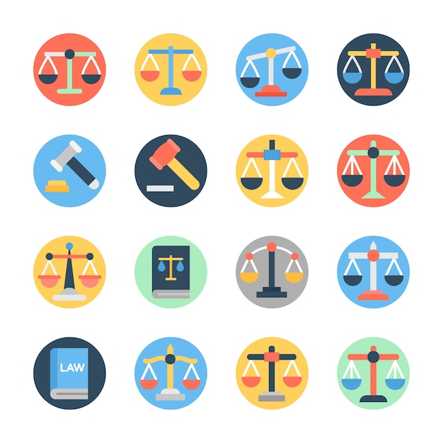 Set of law flat icons Premium Vector
