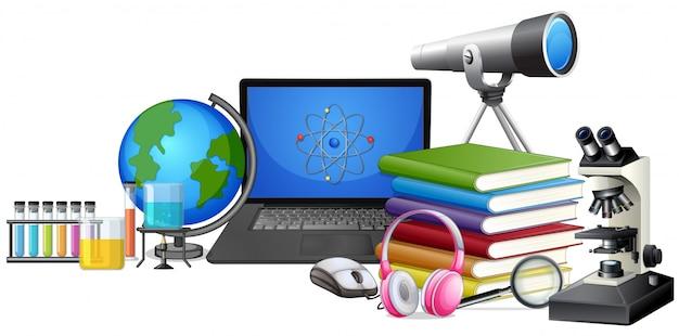 Set of learning equipment Premium Vector