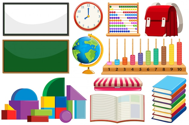 Set of learning equipment Free Vector
