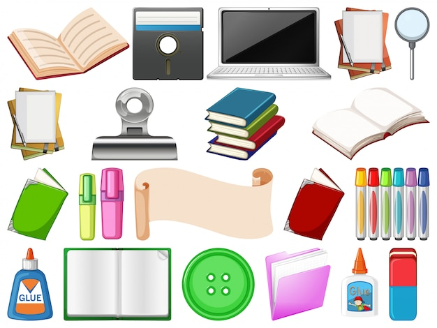 Set of learning object Free Vector