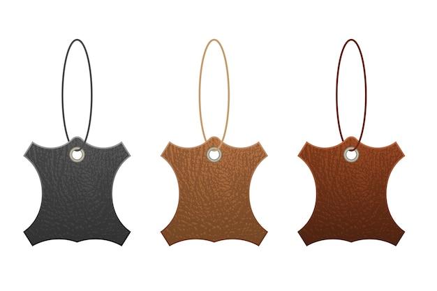 Set of leather labels  illustration  on white background Premium Vector