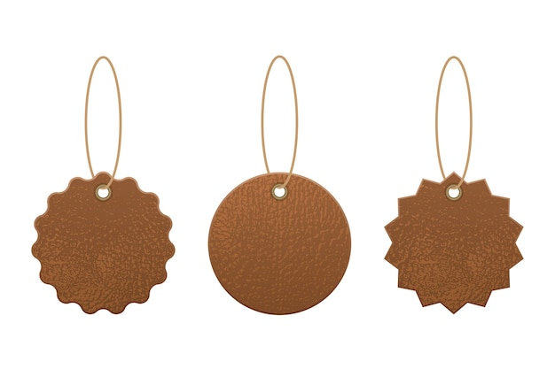 Set of leather labels  illustration  on white background Premium Vector