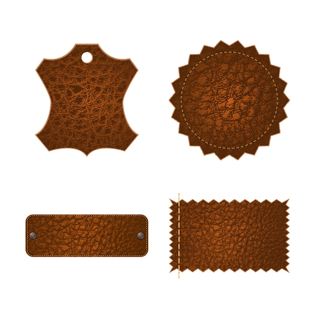 Set of leather tag labels. Premium Vector