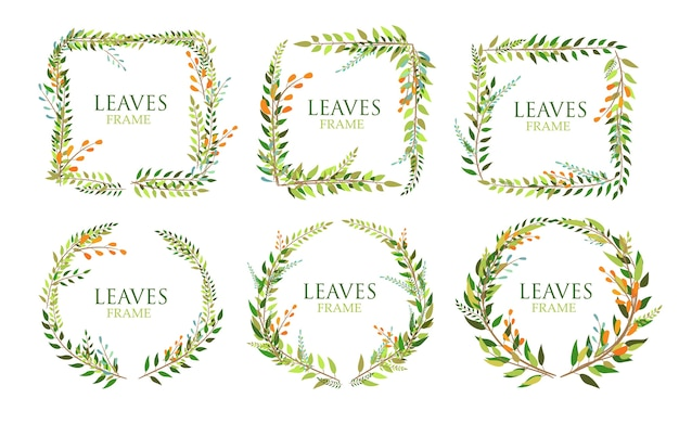 Set of leaves frame isolated on white background Premium Vector