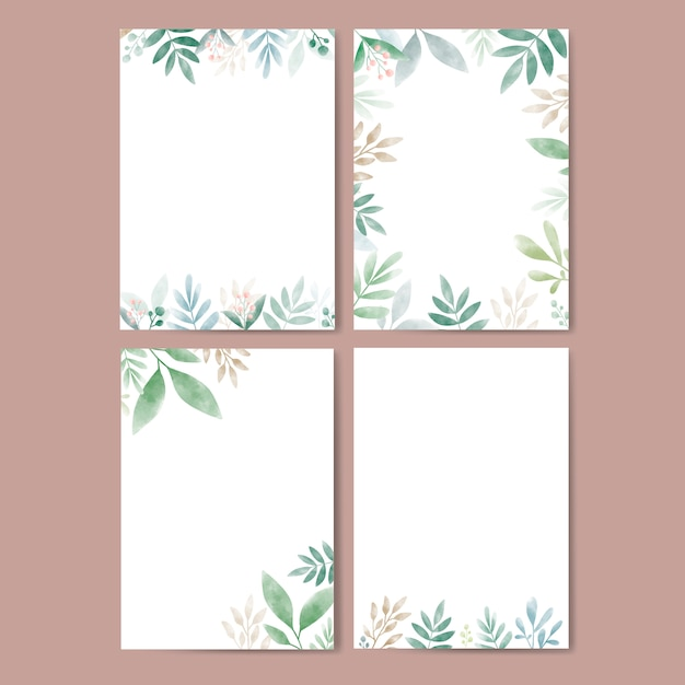 Set of leaves in watercolor with copy space Free Vector