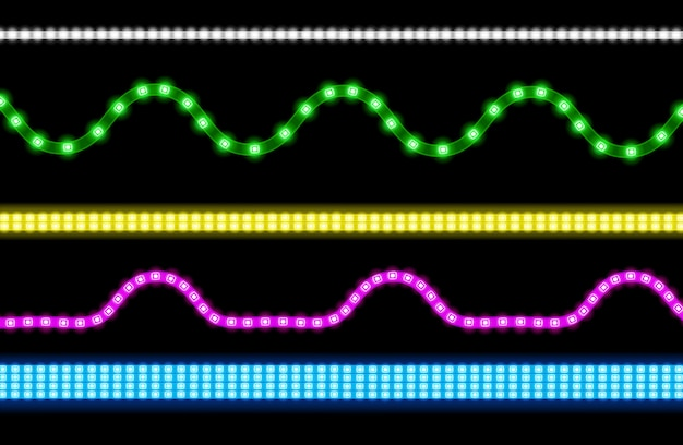 Set of led strips with neon light effect Free Vector
