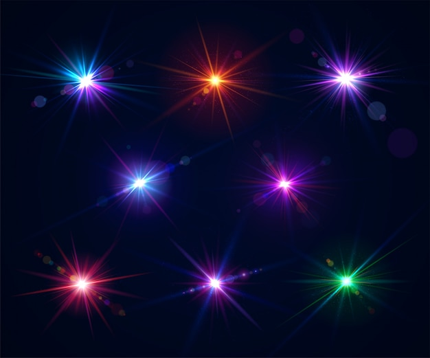 Set of lens flares. light effects of glare flash Premium Vector