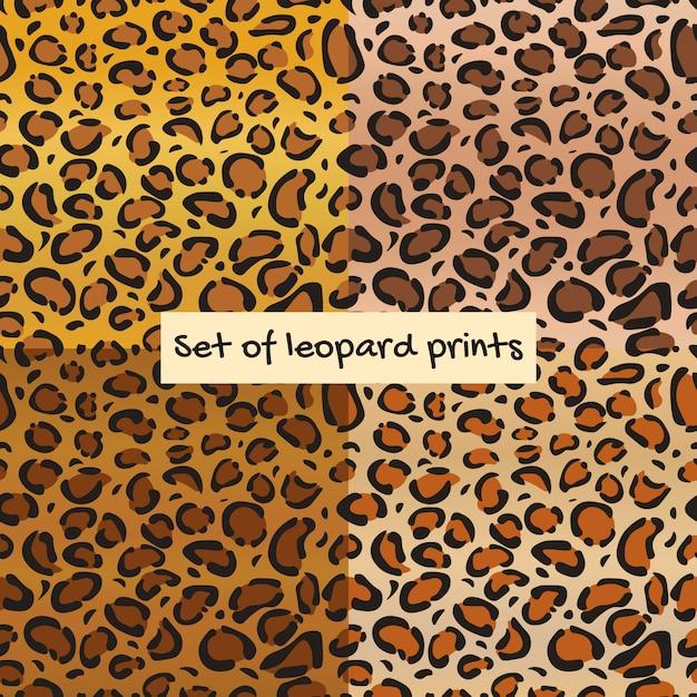 Set of leopard or jaguar seamless pattern. Premium Vector