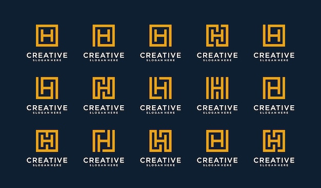 Set of letter h logo in square style Premium Vector