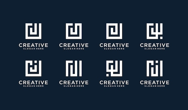 Set of letter j logo in square style Premium Vector