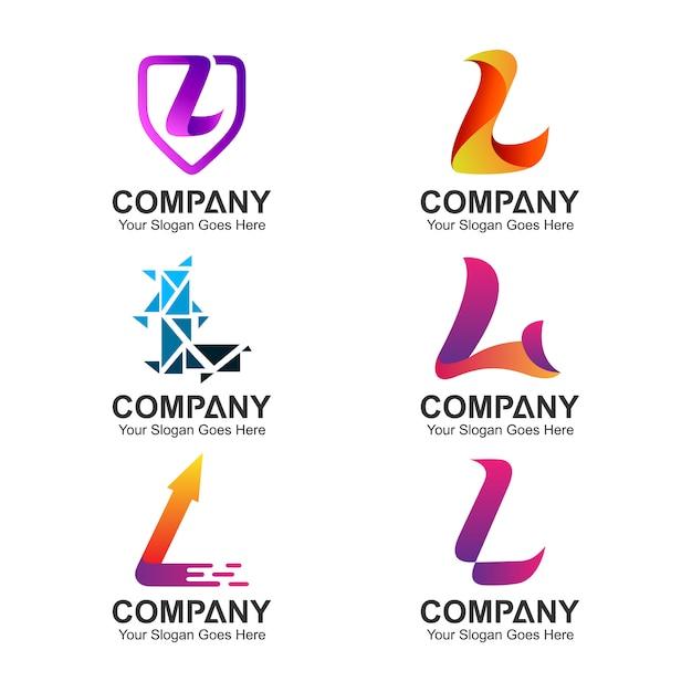 Set of letter l logo design Premium Vector