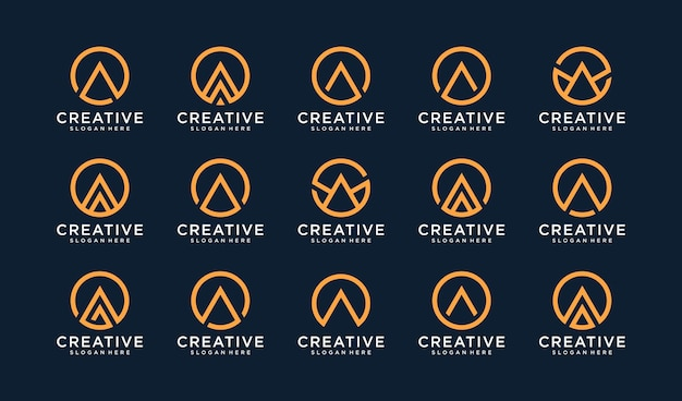 Set of letter a logo in circle style Premium Vector