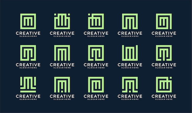 Set of letter m logo in square style Premium Vector