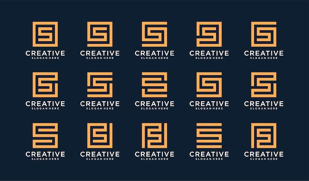 Set of letter s logo in circle style Premium Vector