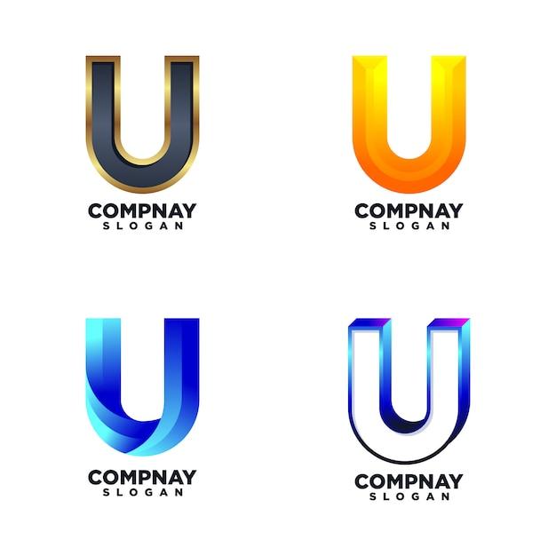 Set of letter u design templates Premium Vector
