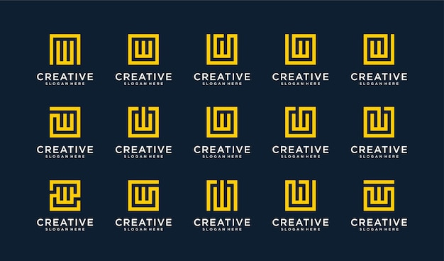 Set of letter w logo in circle style Premium Vector