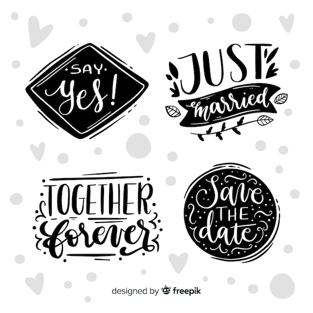 Set of lettering collection concept Free Vector
