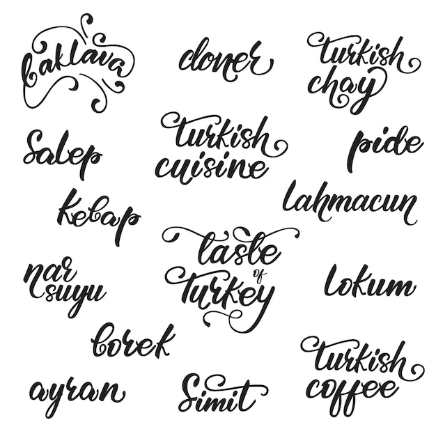 Set of lettering design Premium Vector
