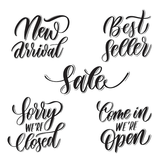 Set of lettering: new arrival, best seller, sorry we're closed Premium Vector