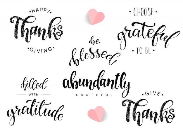 Set of lettering quotes for thanksgiving day Premium Vector