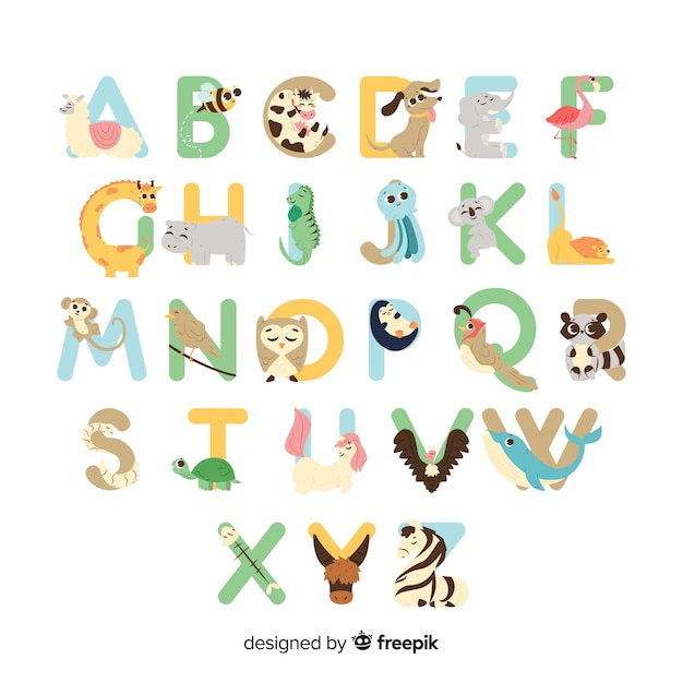 Set of letters with cute animals Vector   Free Download
