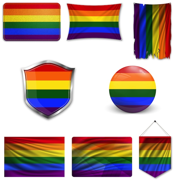 Set of the lgbt flag in different designs. Premium Vector