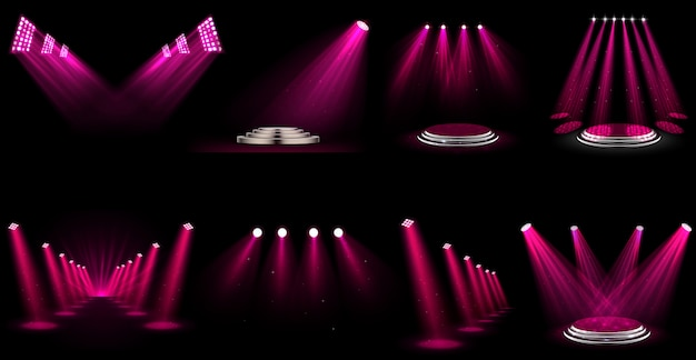 Set of light effect spotlight Premium Vector