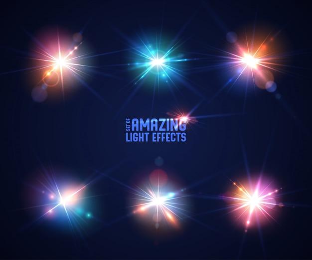 Set of  light effects Premium Vector