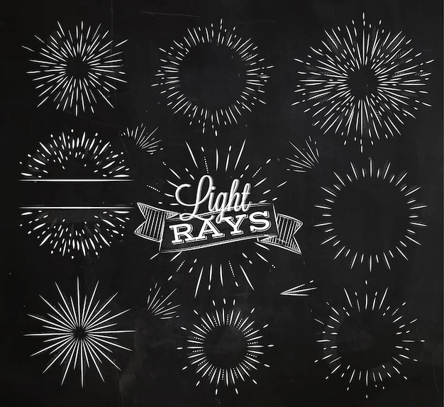 Set light ray in vintage style stylized drawing with chalk Premium Vector